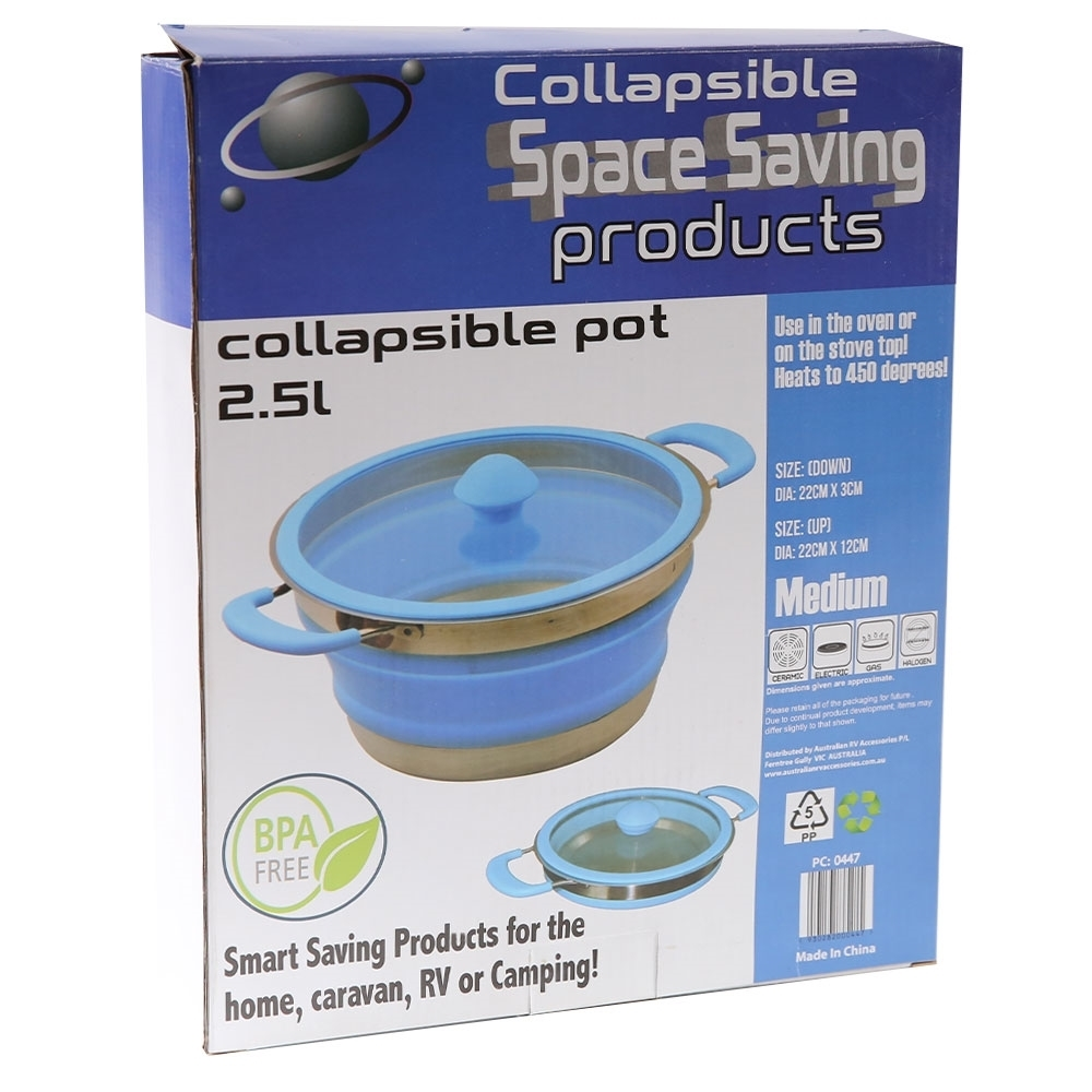 Collapsible Space Saving Collapsible Silicone Pot 2.5L Medium - Packaging