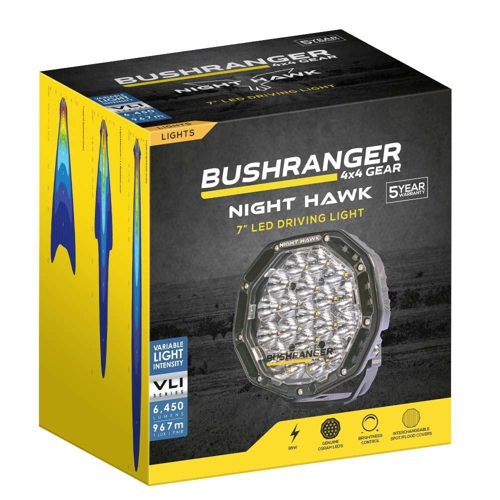 "Bushranger 4x4 Gear Night Hawk 7"" VLI Series LED Driving Light - Packaging"