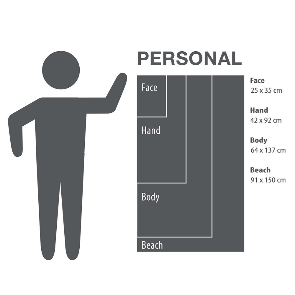 PackTowl Personal Towel - Body - Size guide