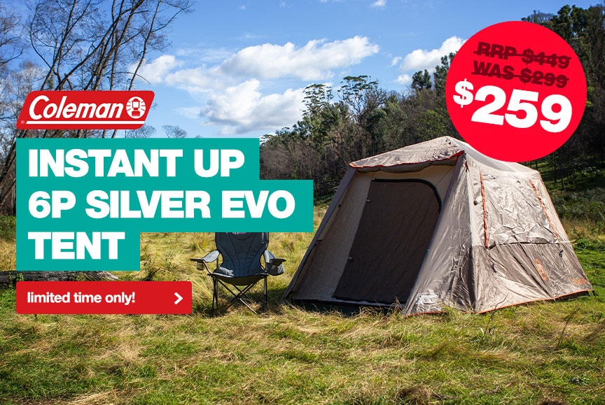 Lowest price in Australia on Coleman Instant Up 6P Silver Evo Tent