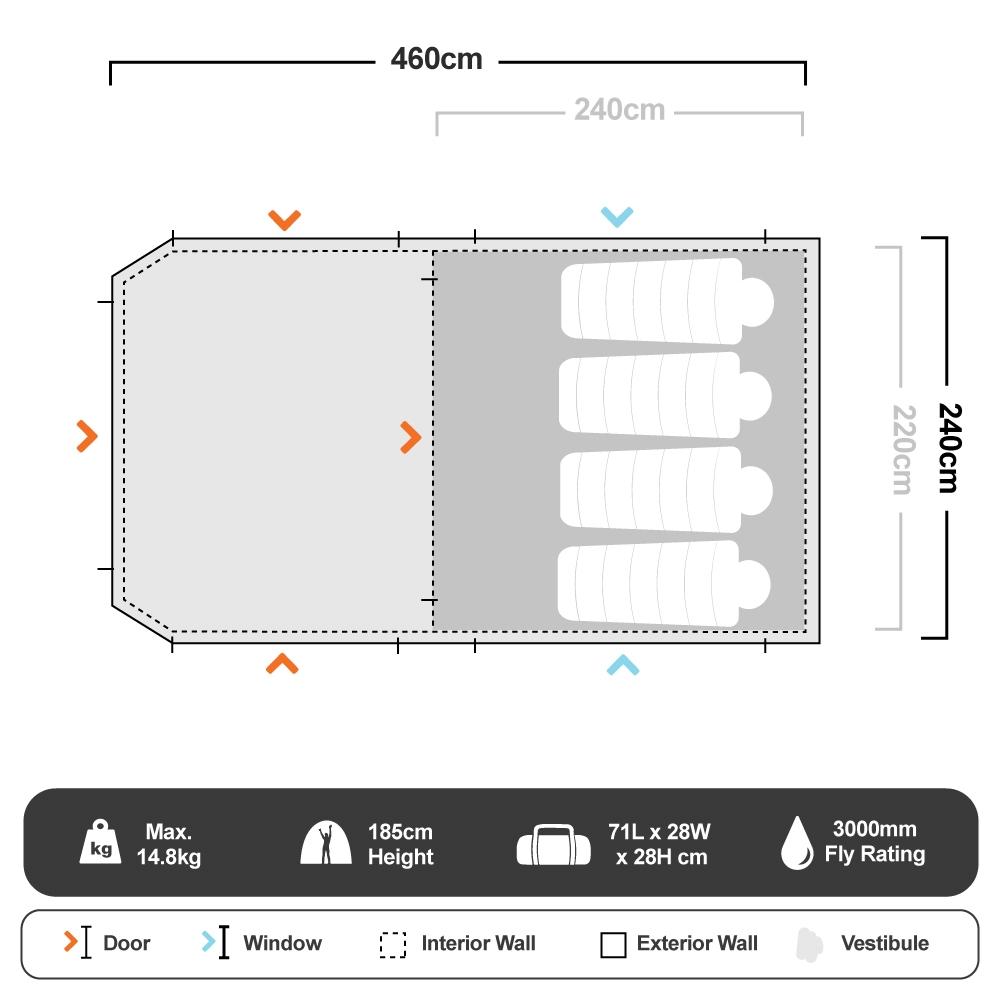 Neo 5 Dome Tent - Floorplan