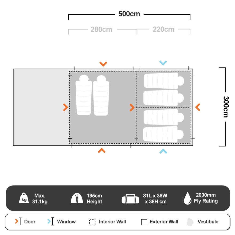 Aria Elite 2 Tent - Floorplan