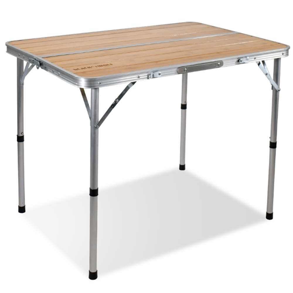 Black Wolf Adjustable Camping Table - Bamboo & Aluminium Top