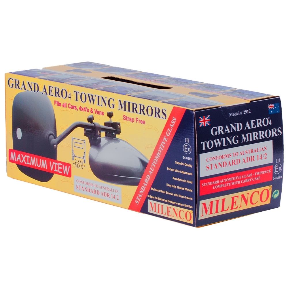 Milenco Grand Aero 4 Towing Mirrors - Standard Glass - Packaging