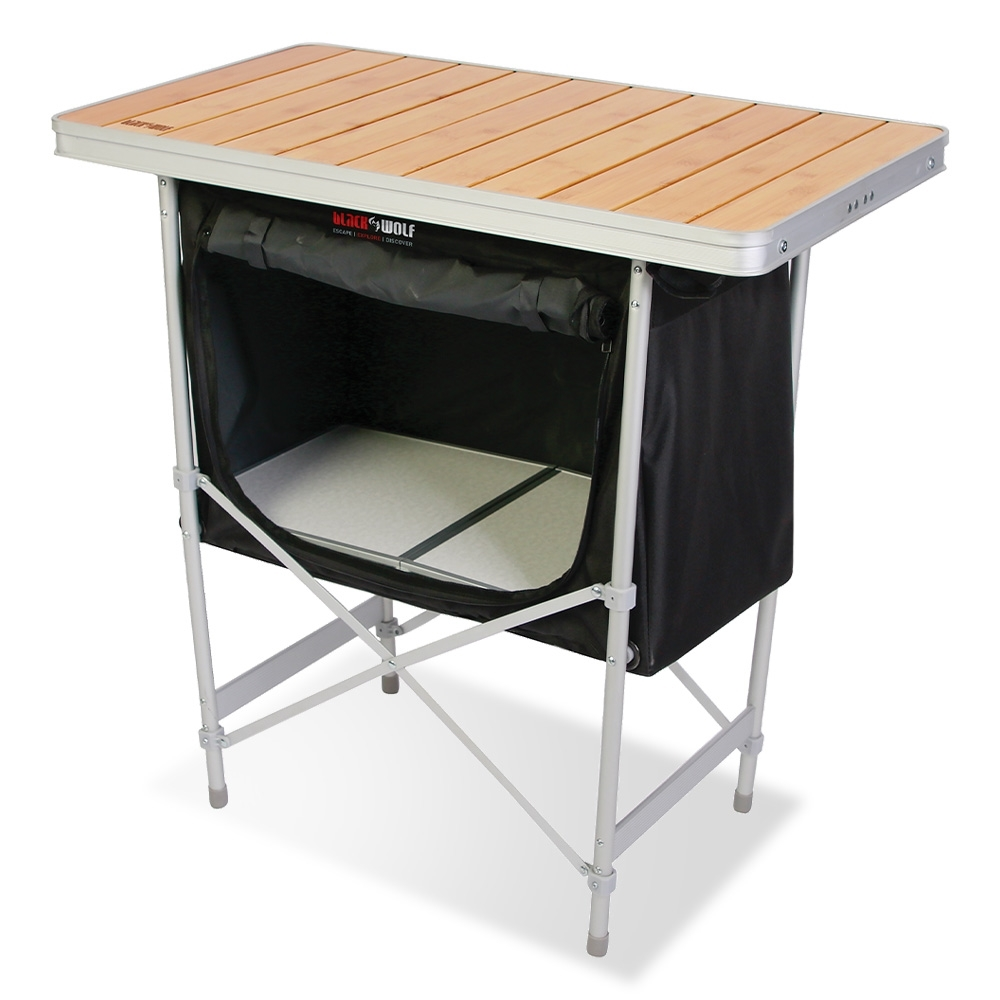 Black Wolf Camp Cupboard - Features a stylish bamboo tabletop