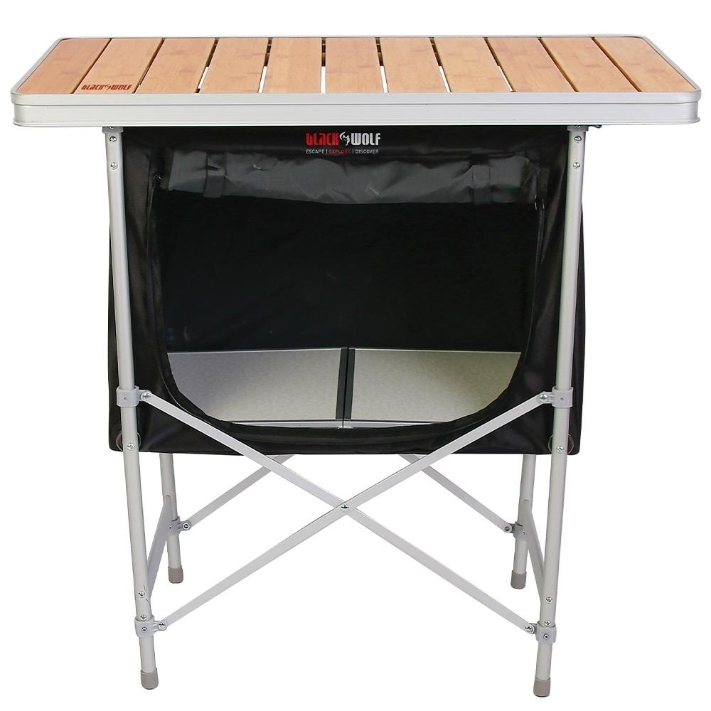 Black Wolf Camp Cupboard - 600D polyester cupboard with melamine shelf