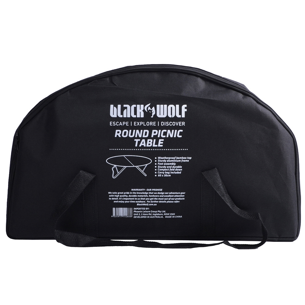 Black Wolf Round Folding Picnic Table - Carry bag included