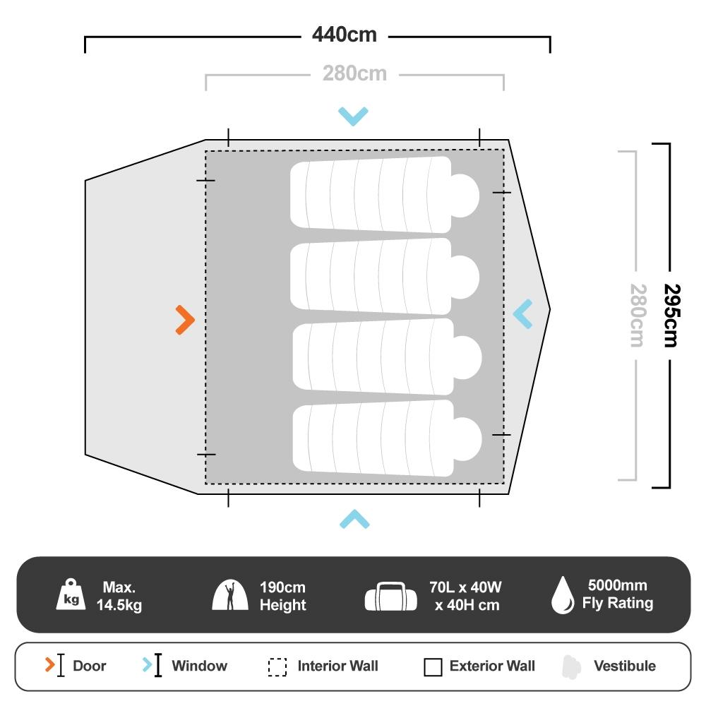 Pronto 5 Inflatable Air Tent - Floorplan