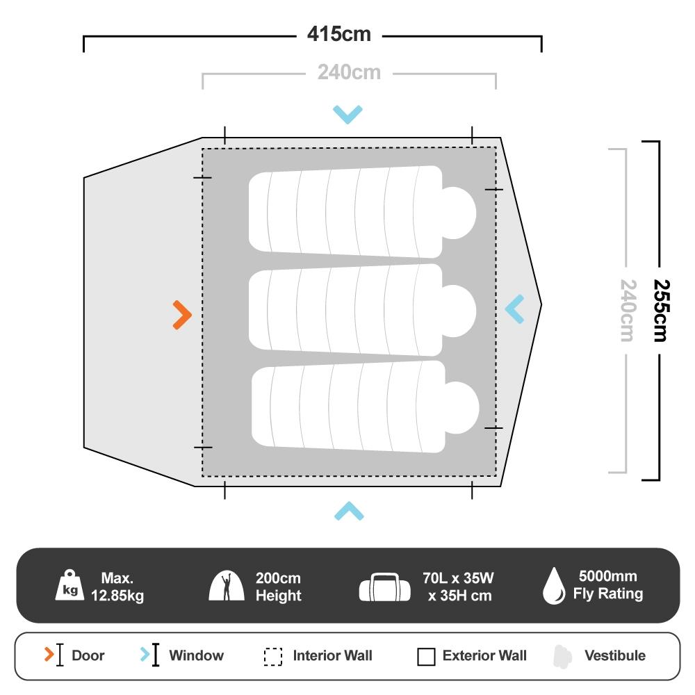 Pronto 4 Inflatable Air Tent - Floorplan