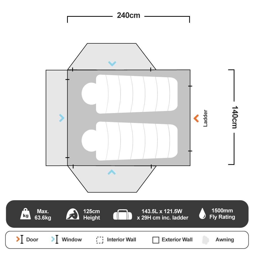 Panorama 1400 Rooftop Tent - Floorplan