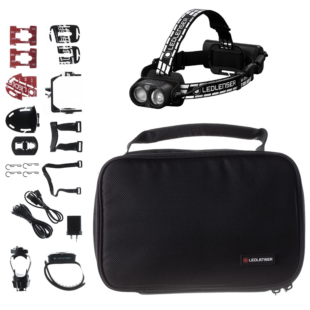Ledlenser H19R Signature Rechargeable Headlamp - Includes USB power adaptor, extension cable, helmet fixing clips, helmet connecting kit, universal mounting bracket, GoPro accessories adapter, tripod connector
