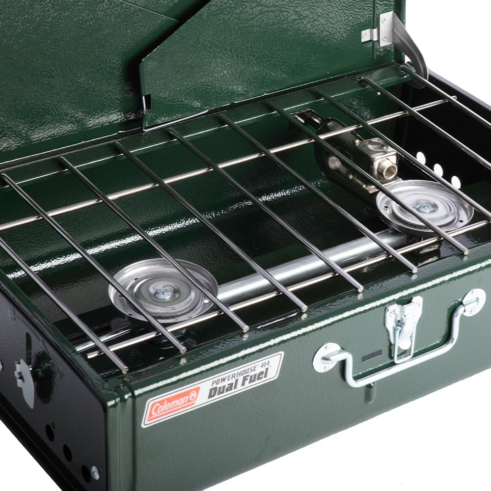 Coleman Guide Series Powerhouse Dual Fuel Stove - Equipped with on 9,000 BTU burner and one 8,000 BTU burner