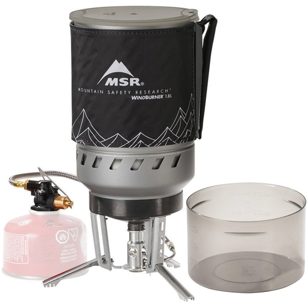 MSR WindBurner Duo Stove System - 1.8 L hard-anodized aluminum pot with integrated heat exchanger & insulated cozy with handle