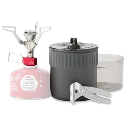 MSR PocketRocket 2 Mini Stove Kit - Ultra-compact cook and eat kit for solo backpackers, featuring the PocketRocket 2 stove