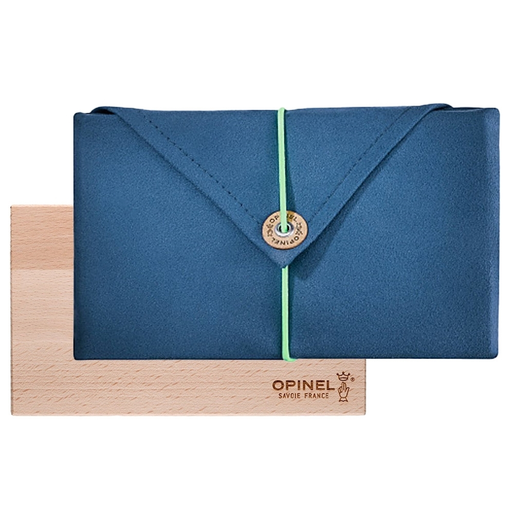 Opinel Nomad Cooking Kit - Beech cutting board, and microfibre dish towel doubling as a travel pouch