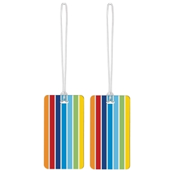 Go Travel Tag Me Patterned Luggage Tags 2Pk Rainbow Stripes