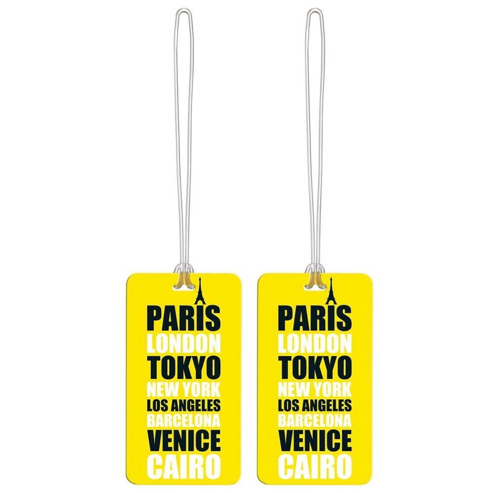 Go Travel Tag Me Patterned Luggage Tags 2Pk Cities Yellow