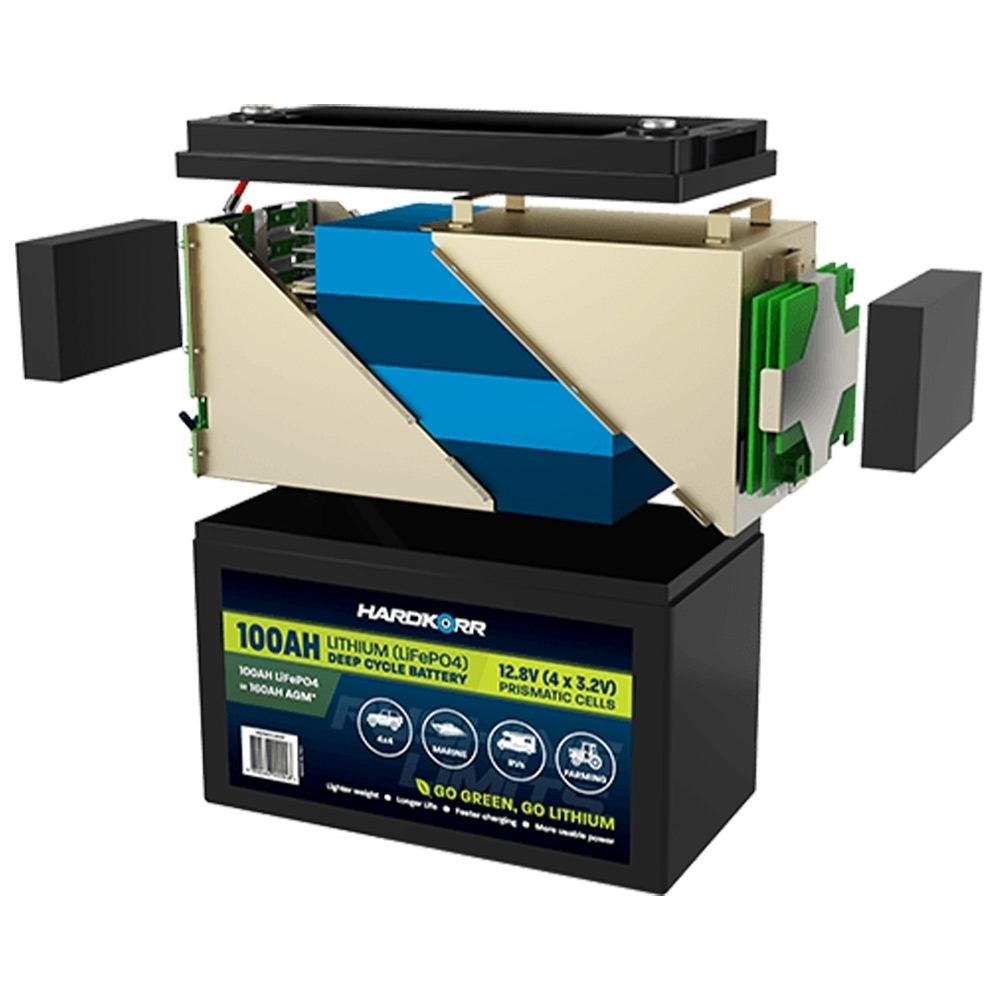 Hard Korr 100AH High-Discharge Lithium (LiFePO4) Deep Cycle Battery - Constructed from superior grade components
