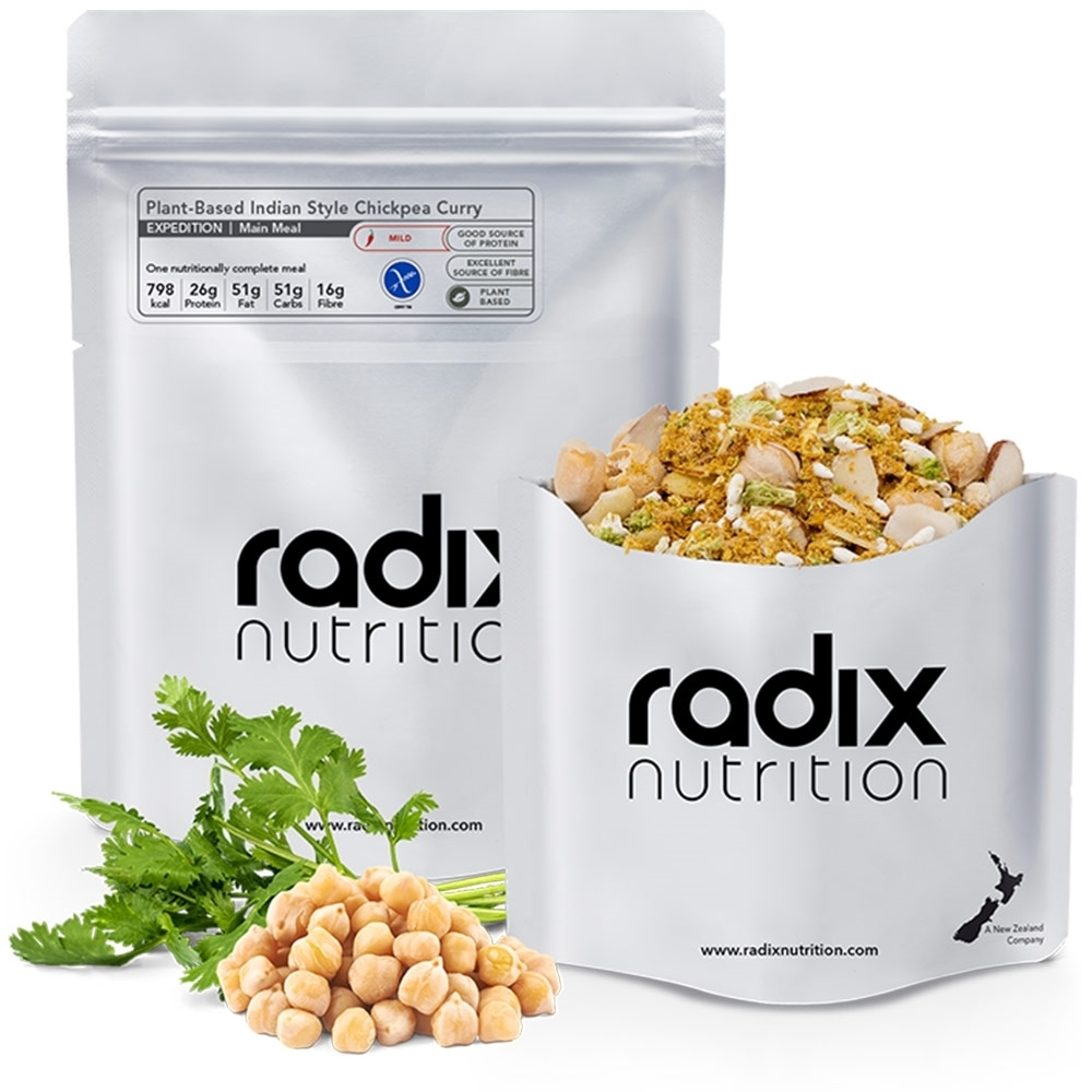 Radix Nutrition Plant-Based Indian Style Chickpea Curry - EXPEDITION 800 - A vibrant and creamy curry combining soft pieces of vegetables, golden chickpeas, crunchy sliced almonds, and a bright variety of spices