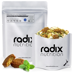 Radix Nutrition Plant-Based Turkish Style Falafel - EXPEDITION 800 - A nutritious plant-based meal combining falafel, tomato, red capsicum, broccoli, almonds, rice, and a plant-based protein blend, providing a complete protein source