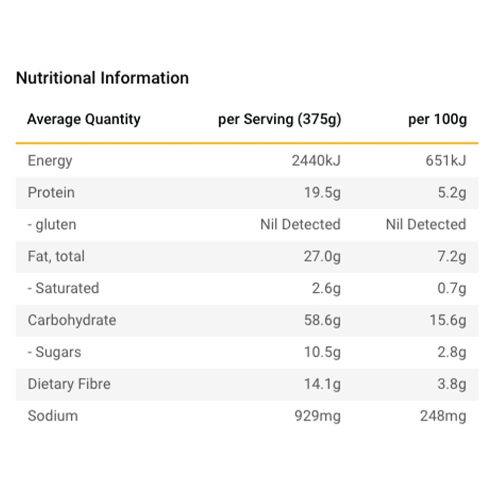 Radix Nutrition Plant-Based Indian Style Chickpea Curry - PERFORMANCE 600 - Nutritional Information