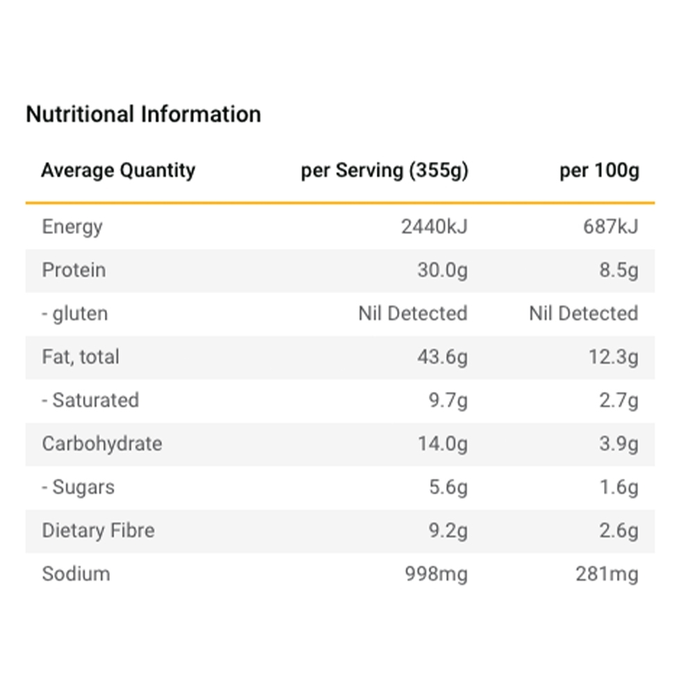 Radix Nutrition Mexican Chilli with Grass-Fed Beef - KETO 600 - Nutritional Information