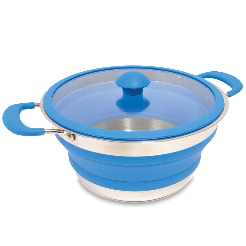 Popup Cooking Pot 3L - Stainless steel base with glass lid