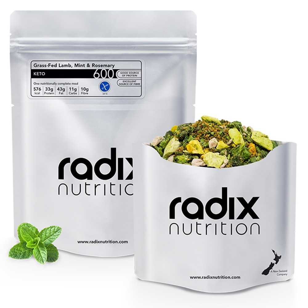 Radix Nutrition Grass-Fed Lamb, Mint & Rosemary - KETO 600 - Pieces of avocado and spinach, milled lamb, visible herbs and golden sliced almonds within a gravy-like sauce mix