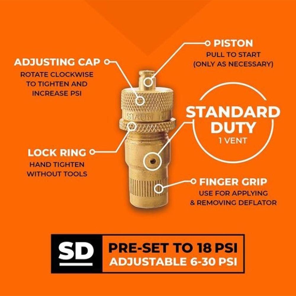 Staun Tyre Deflators Standard (6-30psi) 4 Pack - Info
