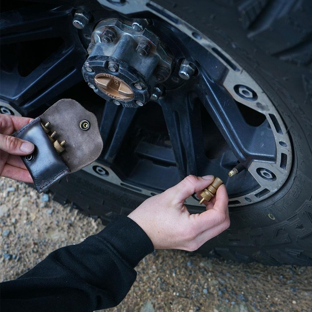 Staun Tyre Deflators Light (0-10psi) 4 Pack - The tyre deflators are simply screwed onto each tyre valve stem