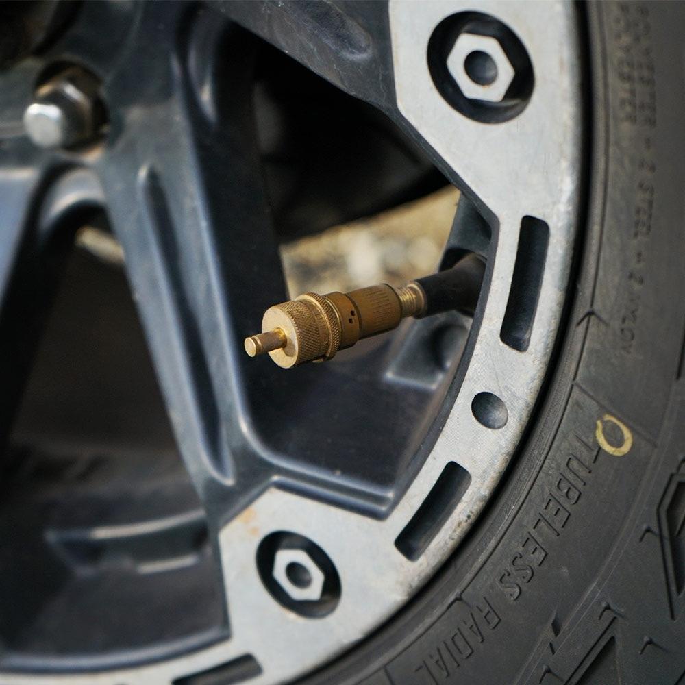 Staun Tyre Deflators Heavy (15-55psi) 4 Pack - The tyre deflators are simply screwed onto each tyre valve stem and walk away