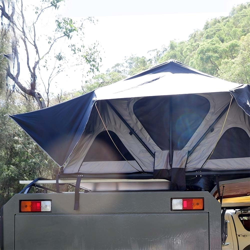 Darche KOZI Series 1300 Rooftop Tent - Baseboard with pre-mounted channel rails provides quick installation and set-up