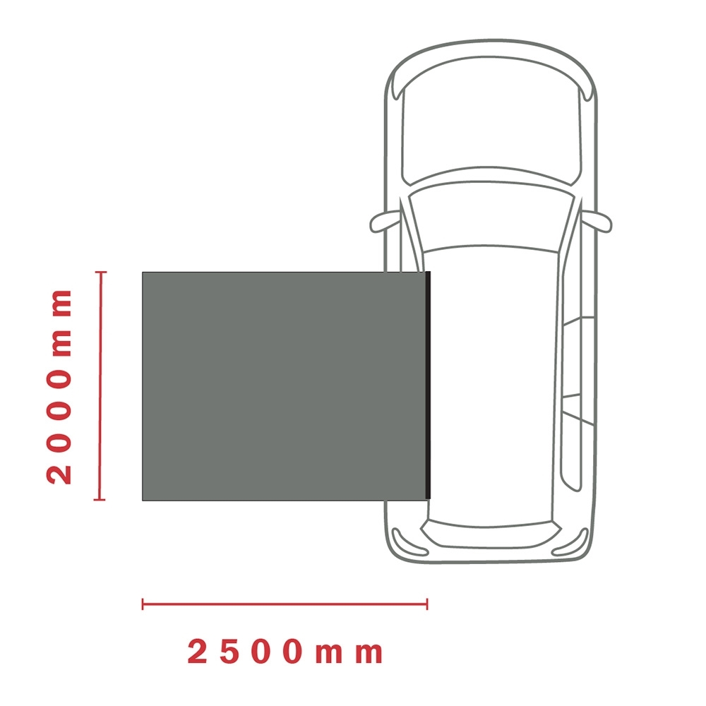 Darche KOZI Series 2 x 2.5M Side Awning - Dimensions