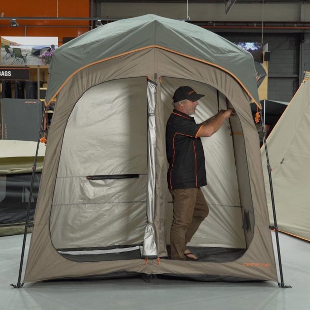 Darche Twin Cube Shower Tent - Two separate cubicles with an internal door to move between them