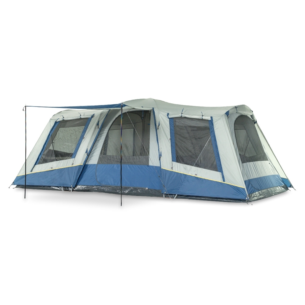 OZtrail Family 10 Dome Tent - A large 3 room dome featuring two private bedrooms separated by a central living area