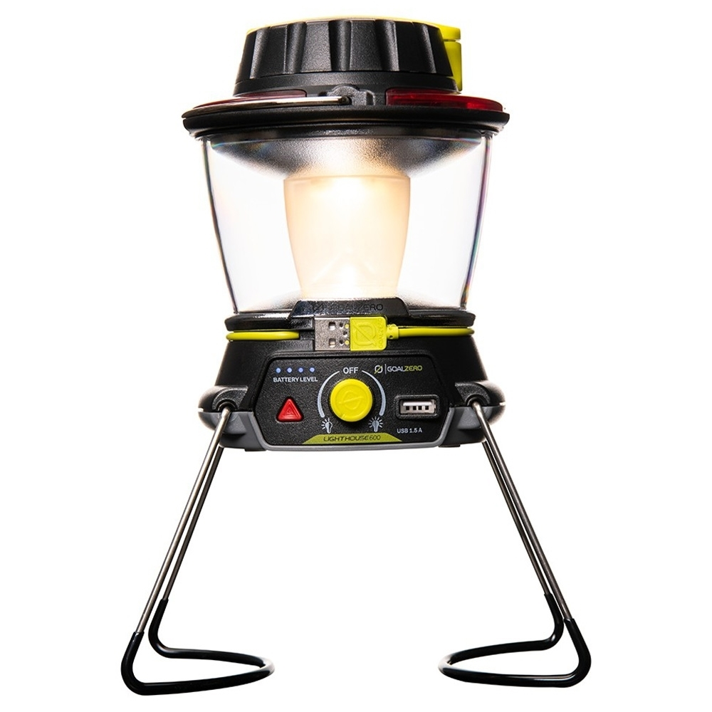 Goal Zero Lighthouse 600 Lantern & USB Power Hub - Collapsible legs provide a stand for maximum light dispersion and fold in for convenient storage