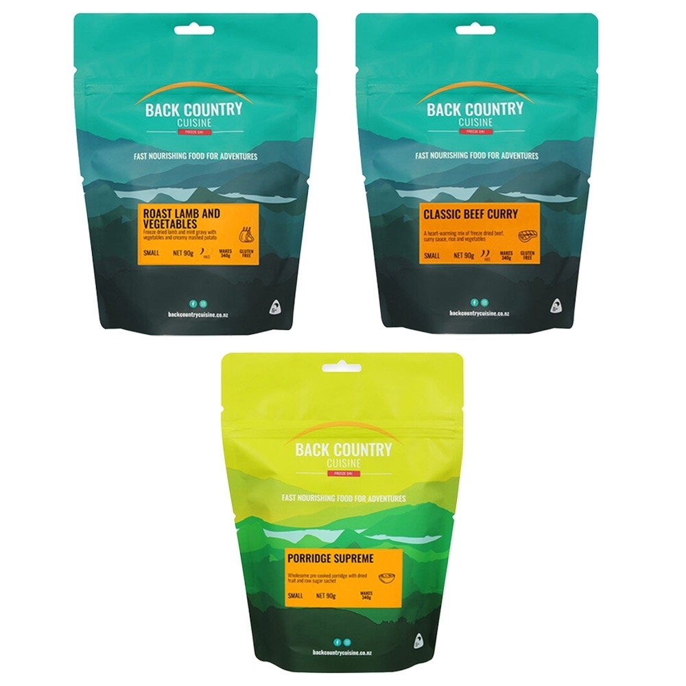 Back Country Cuisine Classic Ration Pack - Porridge, Beef Curry, Roast Lamb and Veggies