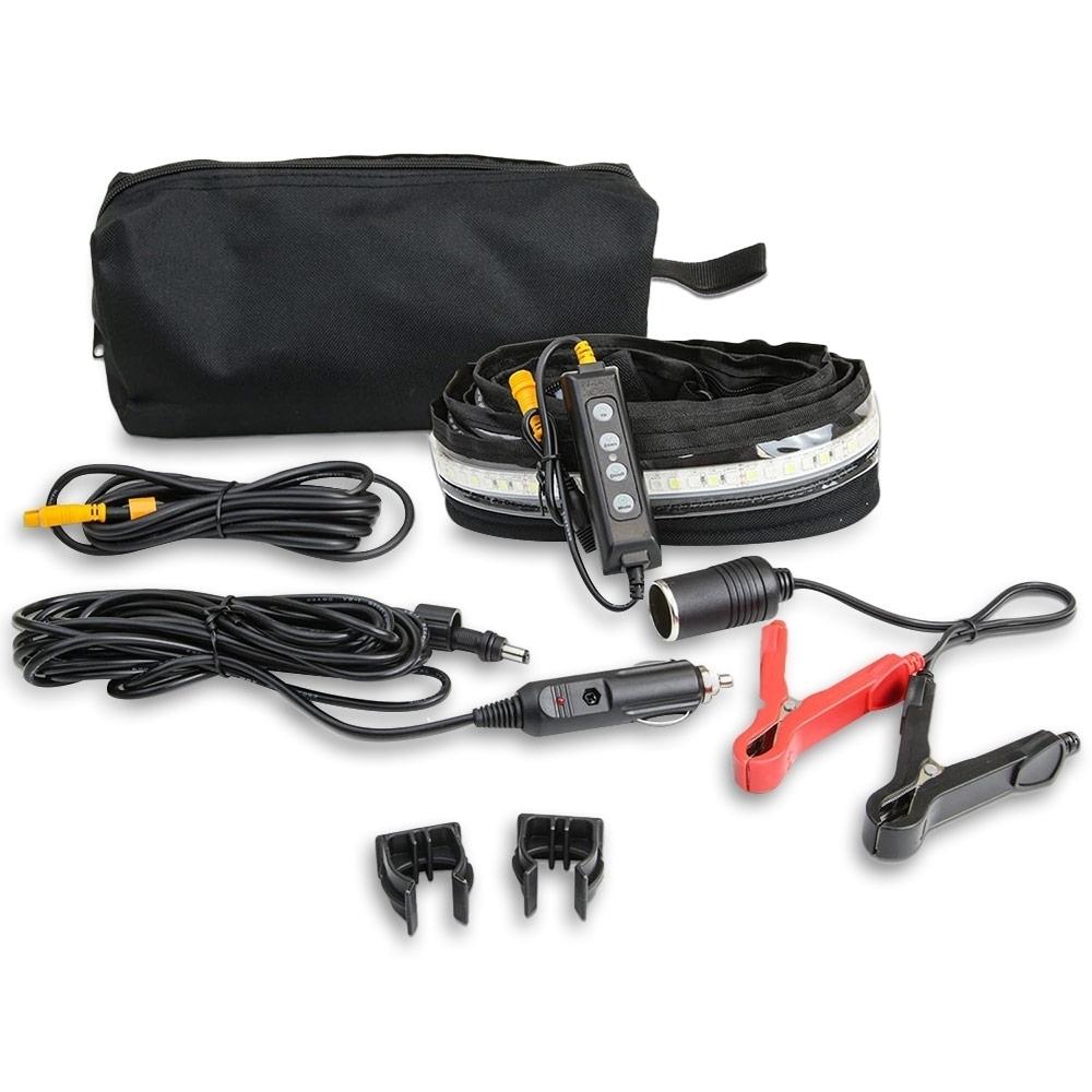 Hard Korr 2.4m 3 Colour Ezy-Fit Flexible LED Strip Light - With carabiner ends, Velcro straps, inbuilt sail track mount