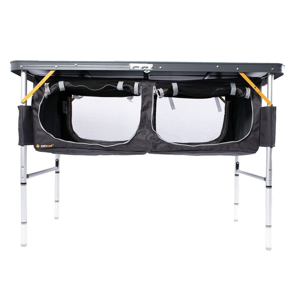 OZtrail Folding Table with Storage - Three leg heights