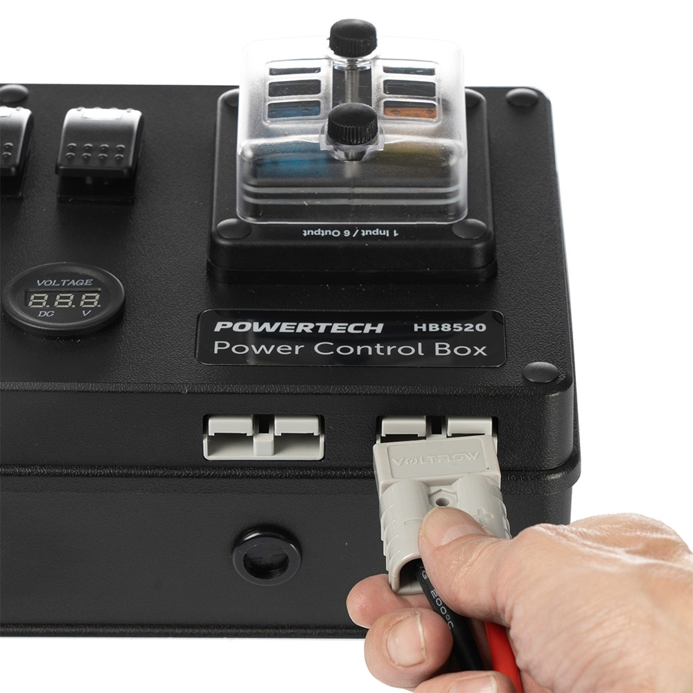 Powertech DC Control Box for External Battery with Voltage Display - 2 x 50A Anderson connectors for battery/solar connection