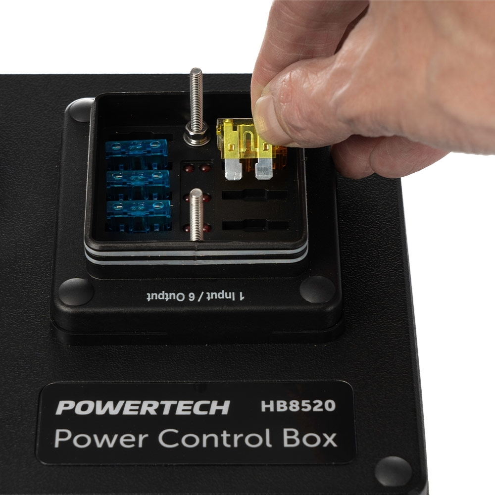 Powertech DC Control Box for External Battery with Voltage Display - Built-in weatherproof 6-way fuse block