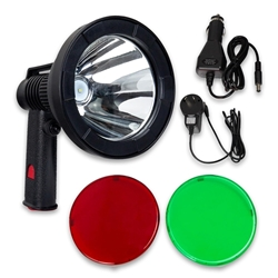 Hard Korr 10W Rechargeable Hand-Held Hunting Spotlight - Red (660nm) and green (540nm) filters included
