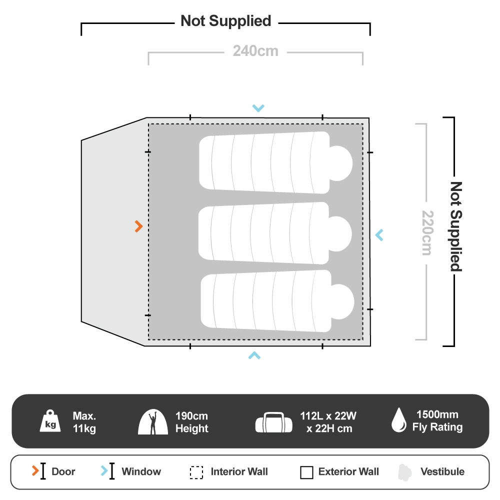 Fast Frame 4 Person Tent - Floorplan