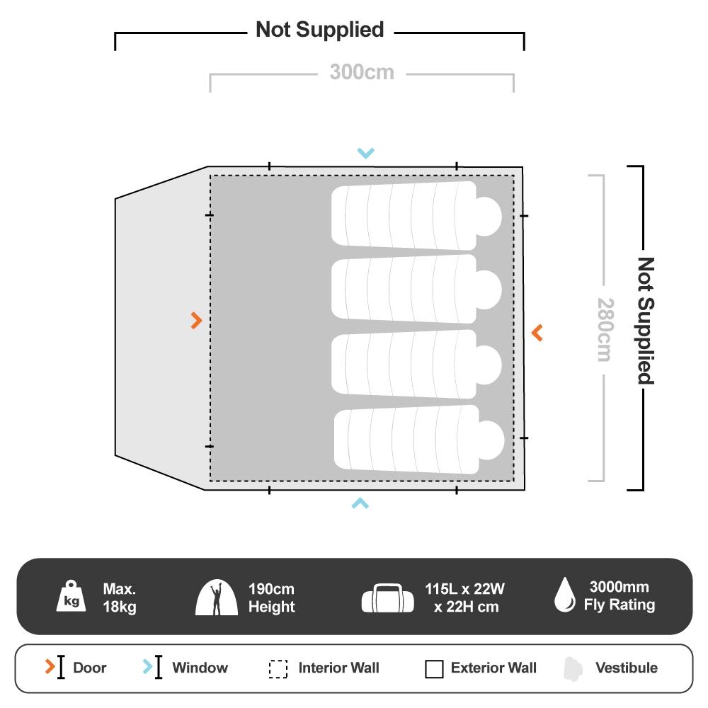 Fast Frame Lumos Integrated Lighting 6 Person Tent - Floorplan