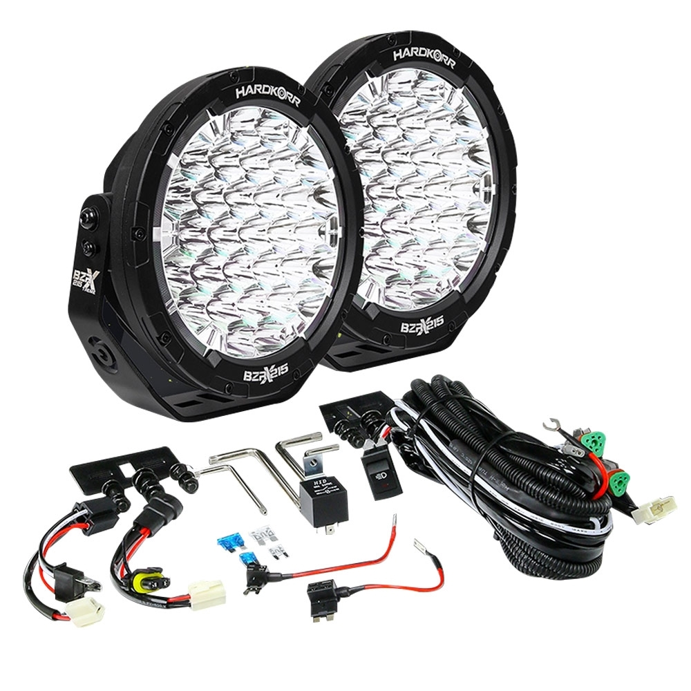 """Hard Korr BZR-X Series 9"""" LED Driving Lights with Wiring Harness - Dual output wiring harness included"""