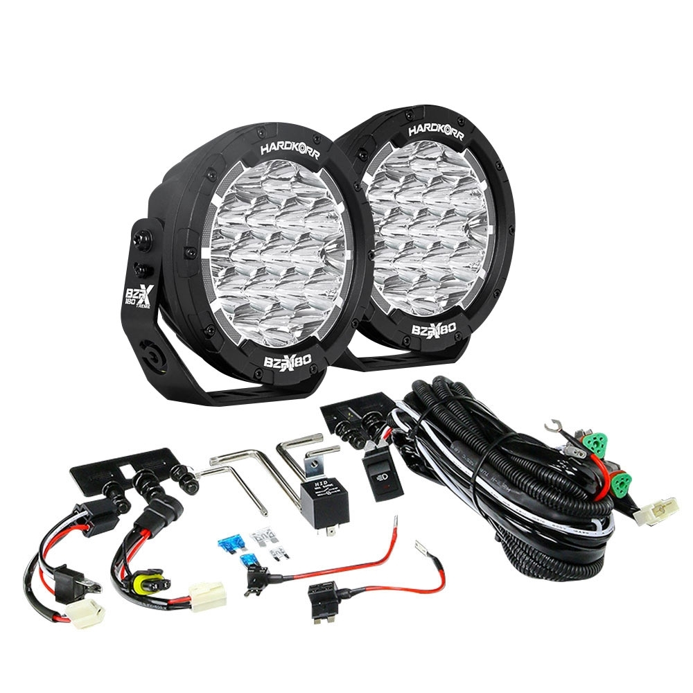 """Hard Korr BZR-X Series 7"""" LED Driving Lights with Wiring Harness - Dual output wiring harness included"""