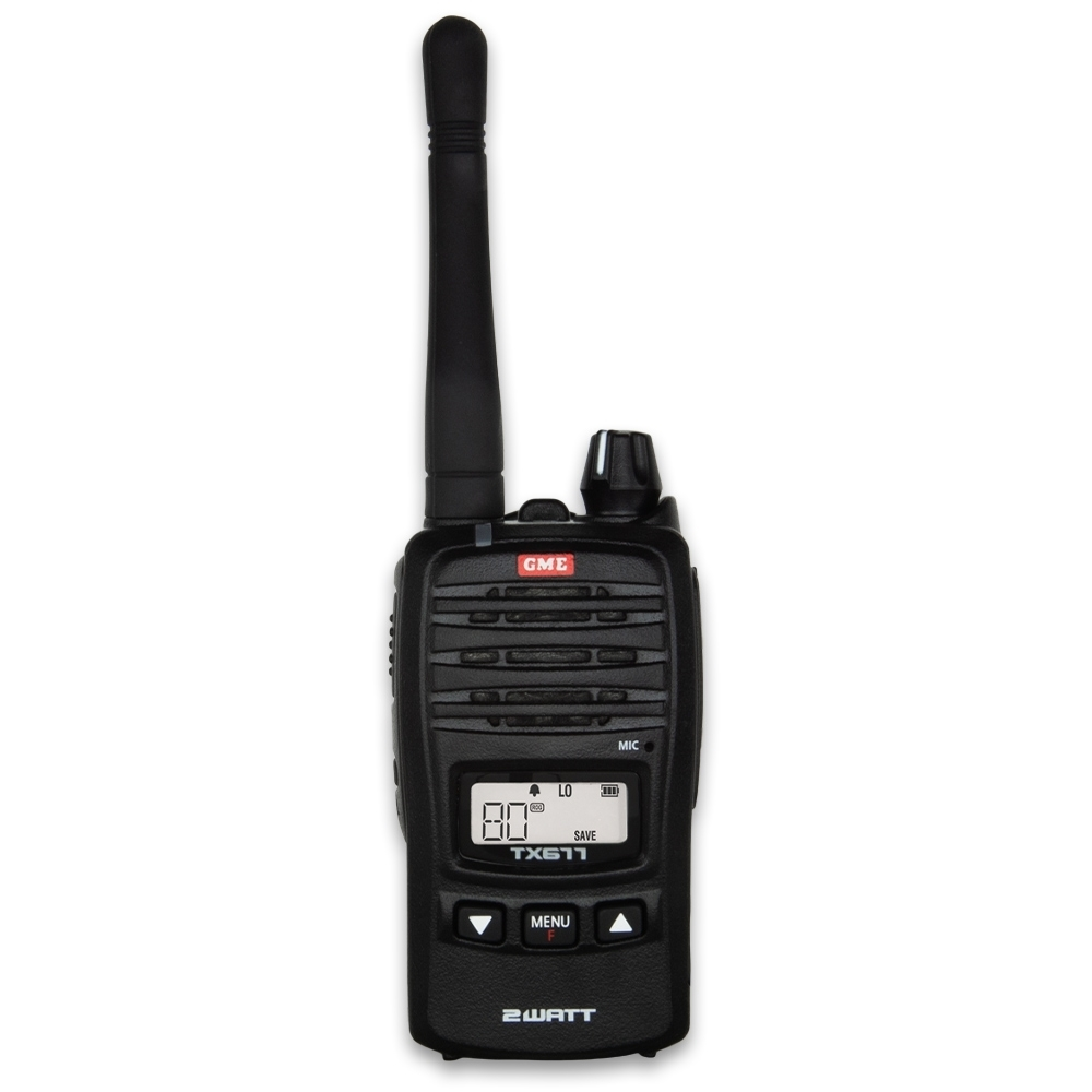 GME 2 Watt UHF CB Handheld Radio TX677 - Compact and lightweight mechanical design, with up to 14 hours battery life