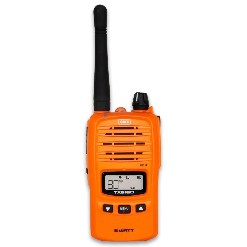 GME 5 Watt UHF CB Handheld Radio Blaze Orange TX6160XO - Featuring 5 watt transmission power in high visibility blaze orange