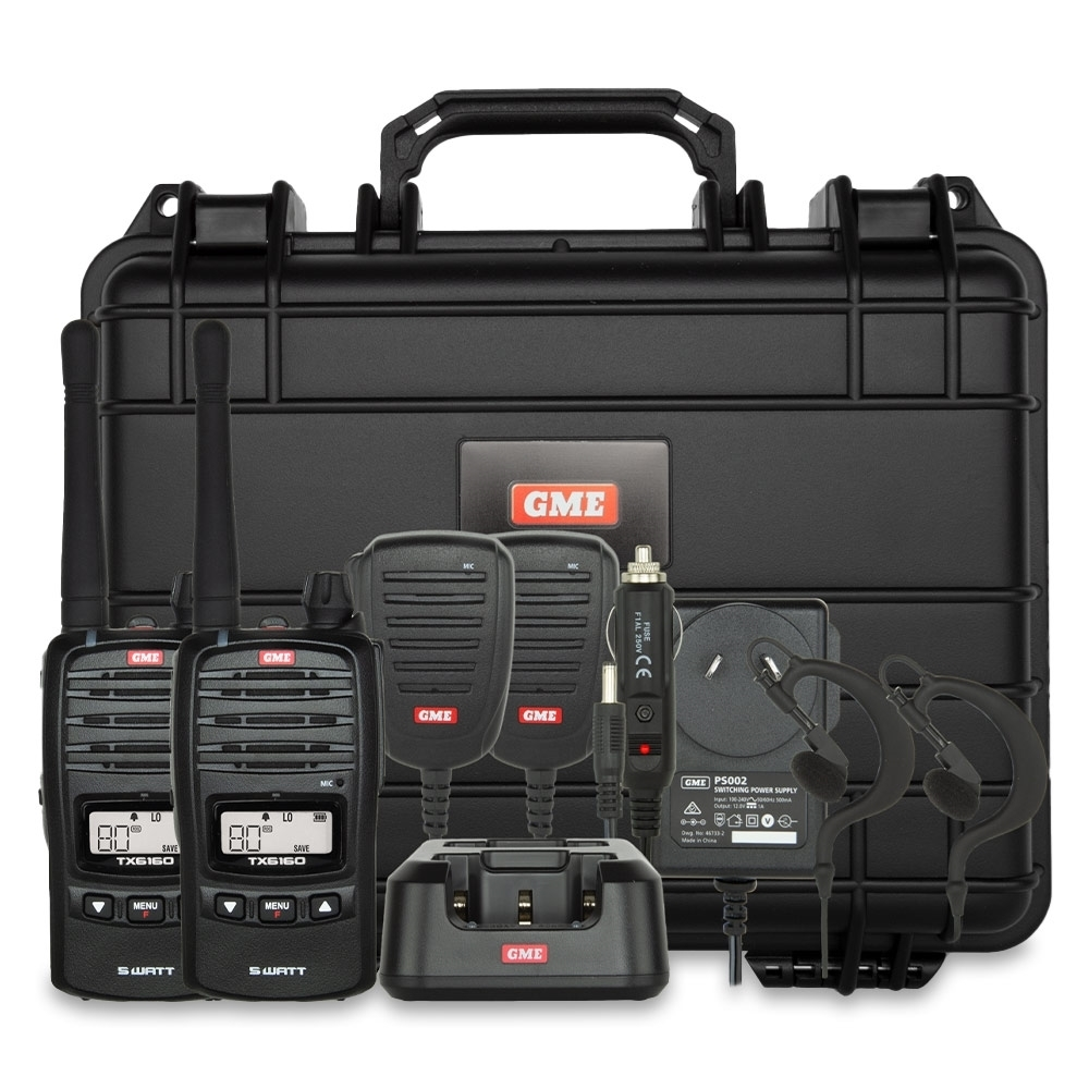 GME 5 Watt UHF CB Handheld Radio Twin Pack TX6160TP - Featuring 2 x 5 watt transmission power radios and accessories in a rugged case