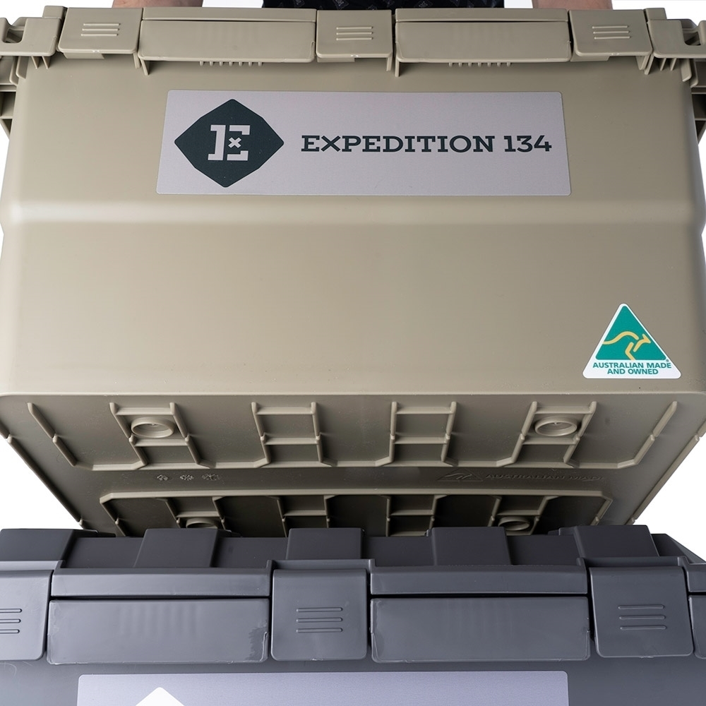 Expedition134 Heavy Duty Plastic Storage Box 55L - Stackable - lock one box on top of another